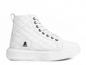 Ανδρικά All white ψηλά sneakers με καπιτονέ