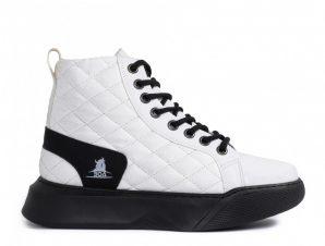 Ανδρικά λευκά ψηλά sneakers με καπιτονέ
