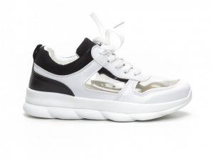 Γυναικεία αθλητικά παπούτσια με διαφάνιες σε λευκό και μαύρο