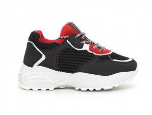 Γυναικεία αθλητικά παπούτσια σε κόκκινο και μαύρο ελαφρύ μοντέλο