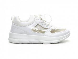 Γυναικεία λευκά αθλητικά παπούτσια με διαφάνιες