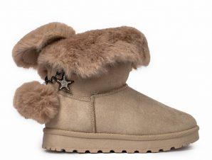 Γυναικεία μπεζ μποτάκια με επένδυση γούνας