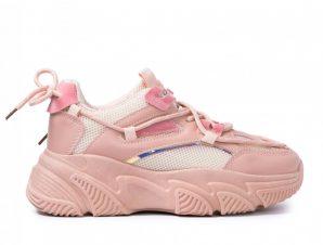 Γυναικεία ροζ Chunky sneakers με δίχτυ